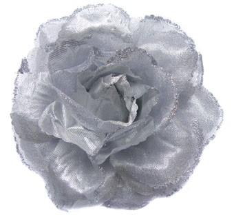 Haarbloem Roos Zilver | Elastiek