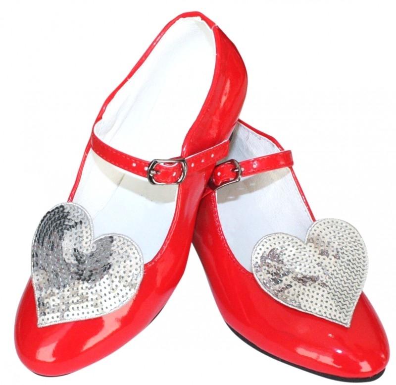 Prinsessenschoenen Rood Glitter Hart + gratis kadootje