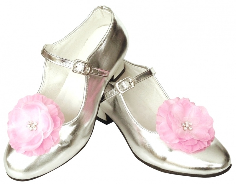 Prinsessen Schoenen Zilver Bloem + gratis kadootje