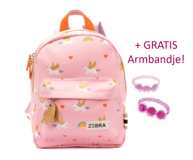 Zebra Rugzak Unicorn Love (s) + gratis armbandje