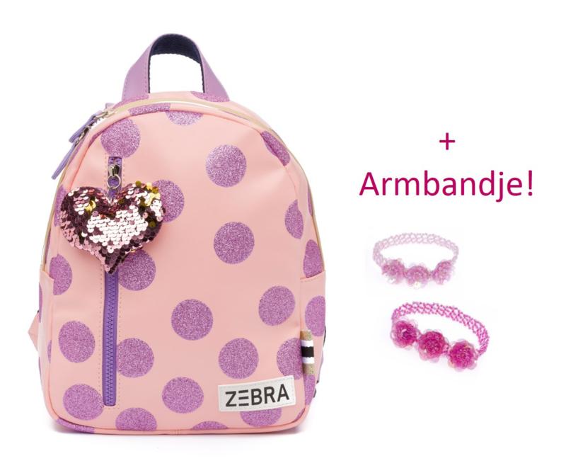 Zebra Rugzak Glitterdots Pink (s) + gratis kadootje