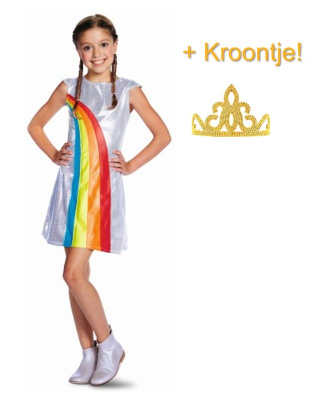 K3 jurkje Regenboog + kroontje goud
