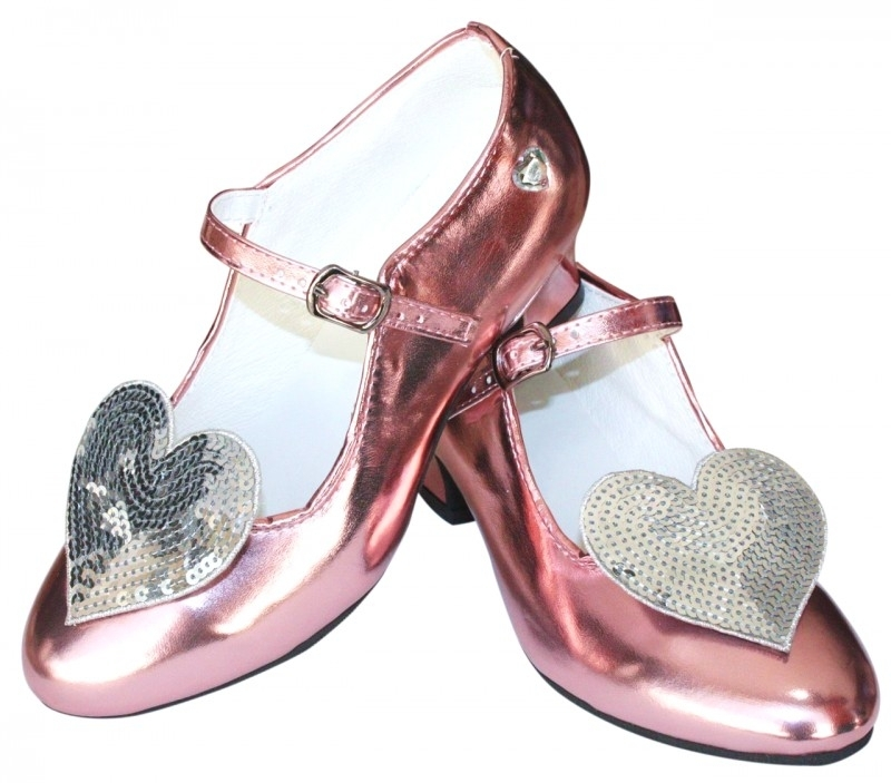 Prinsessen Schoenen Pink Metalic Glitter Hart + gratis glitter armband