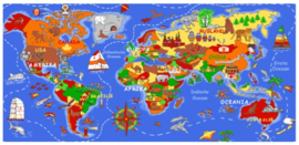Wereldkaart speelkleed 160x230cm op=op