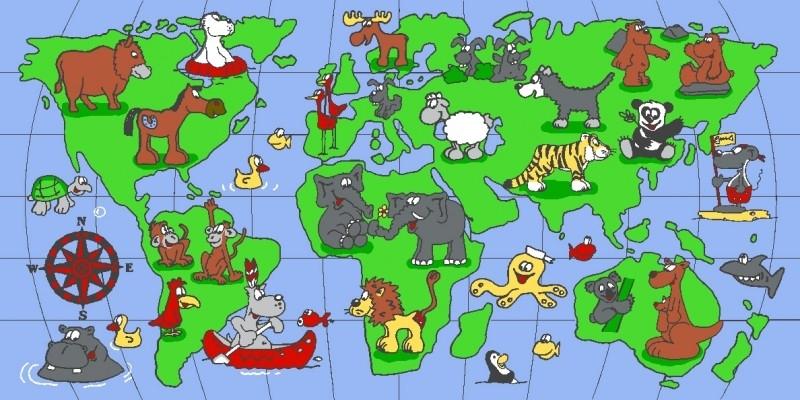 Wereldkaart Speelkleed Dieren