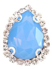 Flatback rhinestone druppel luxe blauw 2.3cm