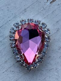 Flatback rhinestone druppel luxe roze spiegelend 2.3cm