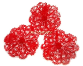 Kanten rozet/bloem rood 3cm