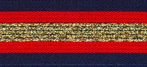 Elastisch band  gestreept donker blauw-rood met goud glitter 3 cm