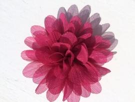 Glitter Bloem ruby wine/bordeaux 7 cm