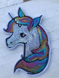 unicorn pailletten applicatie groot opstrijkbaar