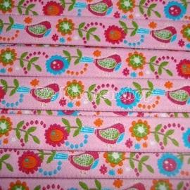 Kinderband vogeltjes & bloemen roze