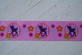 Kinderband hertje roze satijn