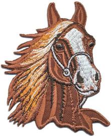 Opstrijkbare applicatie paardenhoofd bruin