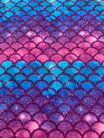 Zeemeermin staart patroon leer dusty pink/aqua/paars/lila glitter