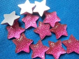 Flatback ster glitter fuchsia
