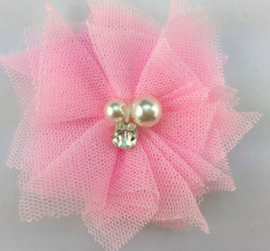 Bloem tule met parels & strass licht roze