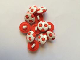 Voetbal knoop rood wit