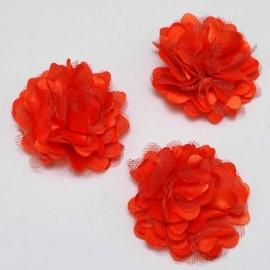 Stoffen satijn bloem met schijfje 5cm *oranje* pst