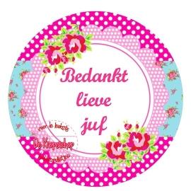 Flatback tekst bedankt lieve juf fuchsia, roze polkadot & roosjes(k838)