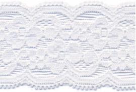 Elastisch kant (haarbandjes) wit 4 cm