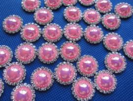 Flatback  parelmoer parel met strass pink 1.8cm