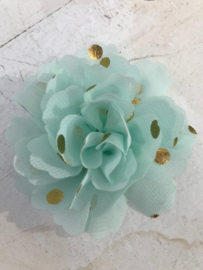 Bloemen chiffon 7 cm mint polkadot goud