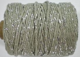 Cotton cord lurex taupe/zilver