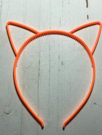Diadeem poezenoortjes neon oranje