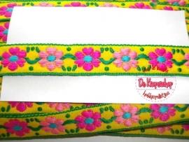 Sierband retro bloemen geel & roze