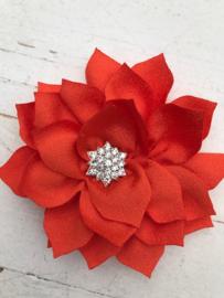 Luxe bloem satijn met ster strass oranje
