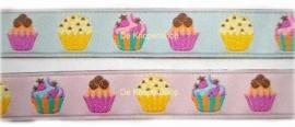 Sierband cupcake roze 1,5cm