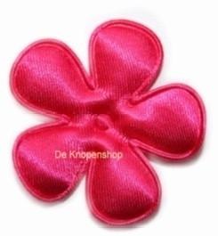 Satijnen bloem  fel roze 4,7cm