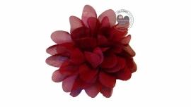 Bloemen chiffon 6.5 cm bordeaux