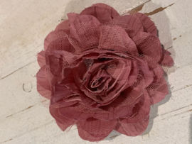 Bloem satijn dusty pink met tule 12.5 cm