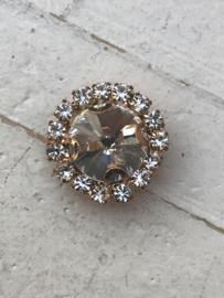 Flatback rhinestone  rond goud 15mm kristal