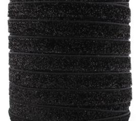 Elastisch zwart glitter haarband 1cm