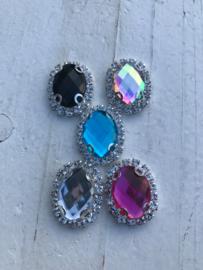 Flatback rhinestone ovaal luxe blauw
