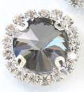Flatback rhinestone rond luxe zwart  spiegelend 2.0cm