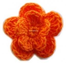 A0221 Gehaakte katoenen bloem oranje