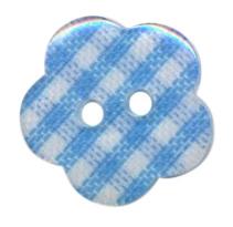 Knoop bloem ruitje licht blauw 1.5cm