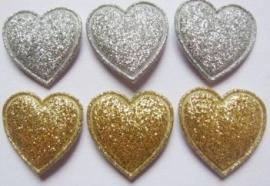 Hartje glitter 2cm zilver/goud per stuk