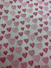 Leer hartjes roze-lichtroze glitter