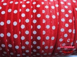 Haarband elastiek rood polkadot 1,5 cm