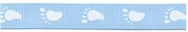 grosgrain band baby voetjes  lichtblauw/ wit