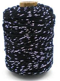 Cotton cord lurex zwart/zilver