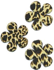 Applicatie bloem met panter/tijger print ivoor  4,5 cm
