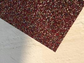 Glitter Leer grof mix goud/zilver/blauw/roze 20x22 cm