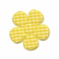 Geruite bloem 3,5cm geel