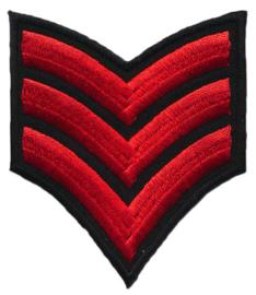 Applicatie opstrijkbaar epaulet  3 strepen rood